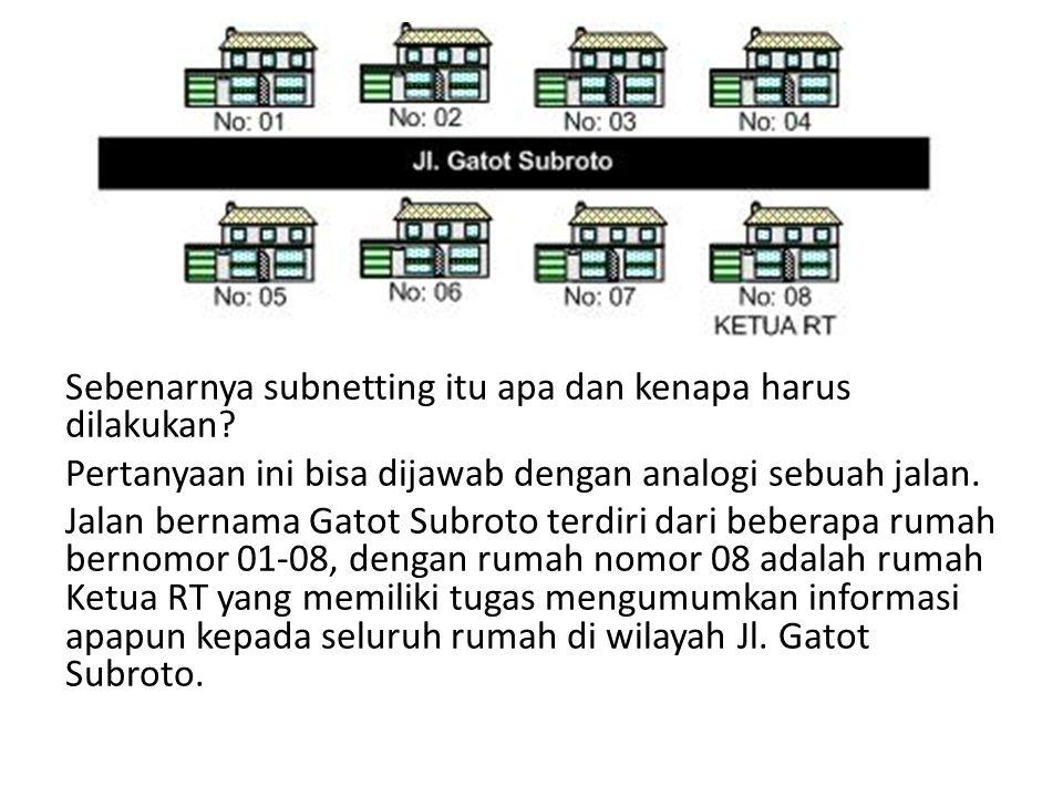Subnetmask 255.255.255.224 (11100000) Jumlah subnet 2 x = 2 3 = 8 subnet Jumlah host per subnet 2 Y – 2 = 2 5 – 2 = 32 host/subnet Didapat : Blok123456 Subne t 326496128160192 Host 1336597129161193 H.