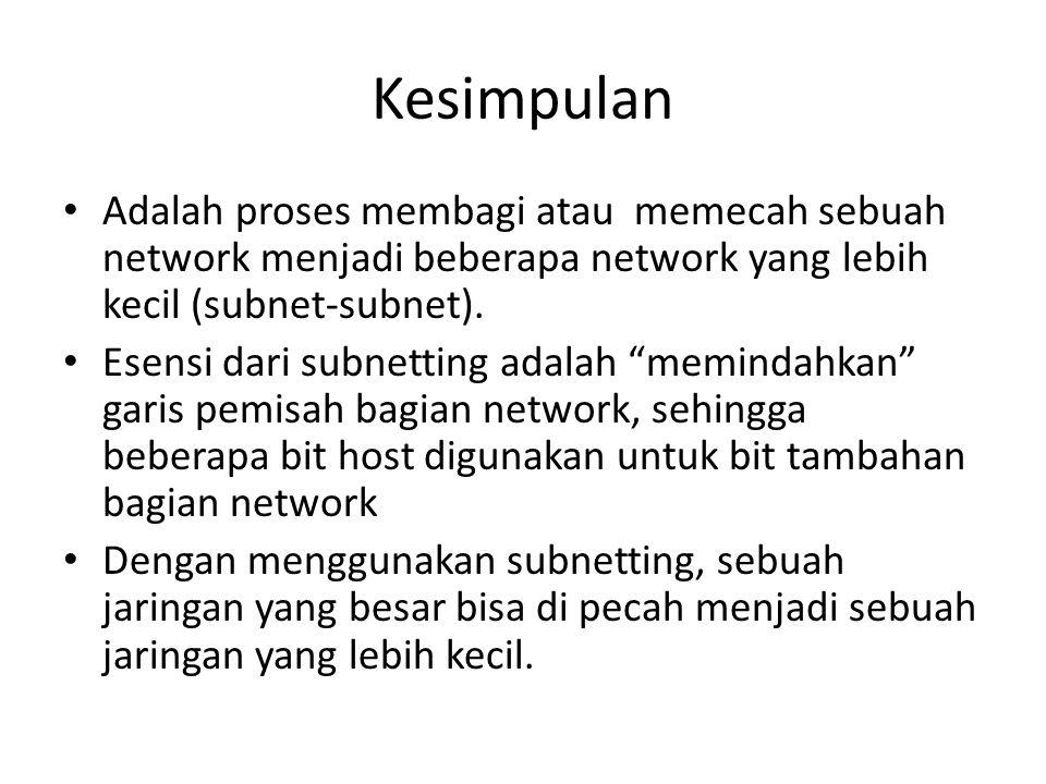 Contoh Subnetting 2 IP 192.168.0.0/26 /26 artinya network tersebut kita subnet dengan subnet mask 255.255.255.192 (11111111.11111111.11111111.11000000) Pertanyaan: – Ada berapa jumlah subnet .