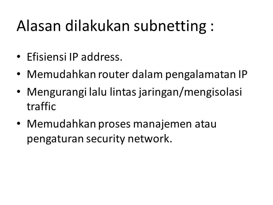 Jumlah Subnet (segmen Jaringan) Jumlah Subnet BitSubnet (nitasi desimal bertitik/notasi panjang perfiks) Jumlah Host tiap subnet 10255.255.255.0/24254 1 – 21255.255.255.128/25126 3 – 42255.255.255.192/2662 5 – 83255.255.255.224/2730 9 – 164255.255.255.240/2814 17 – 325255.255.255.248/296 33 – 646255.255.255.252/302 Subnetting Kelas C