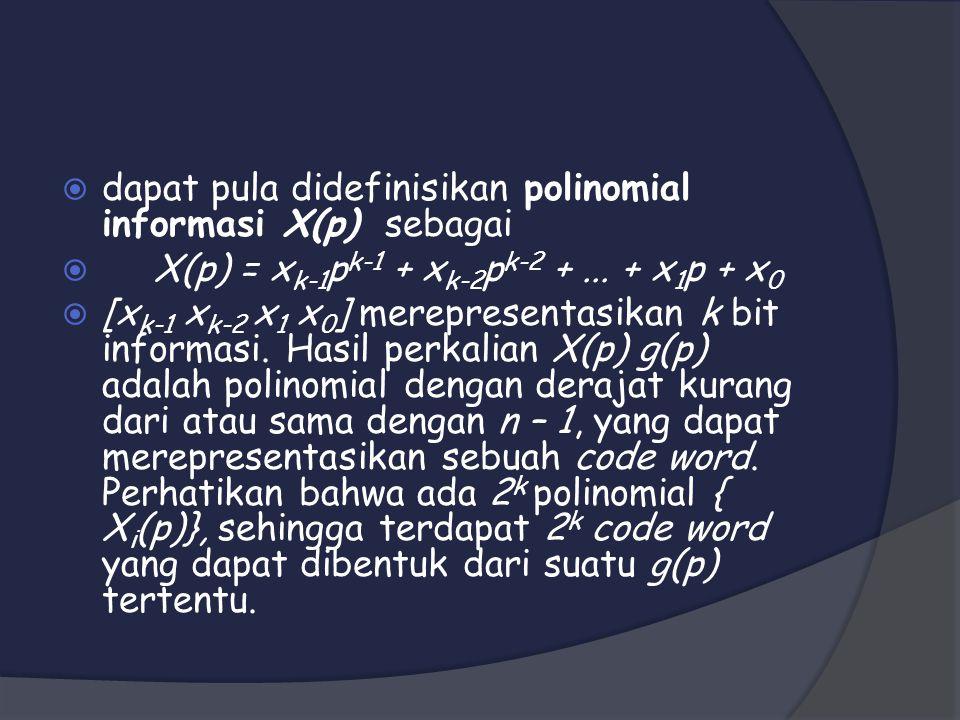  dapat pula didefinisikan polinomial informasi X(p) sebagai  X(p) = x k-1 p k-1 + x k-2 p k-2 +...