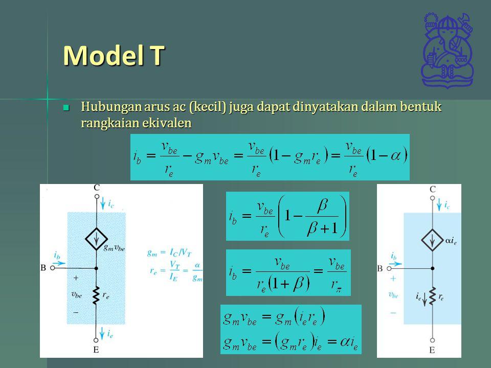 Model T Hubungan arus ac (kecil) juga dapat dinyatakan dalam bentuk rangkaian ekivalen Hubungan arus ac (kecil) juga dapat dinyatakan dalam bentuk rangkaian ekivalen