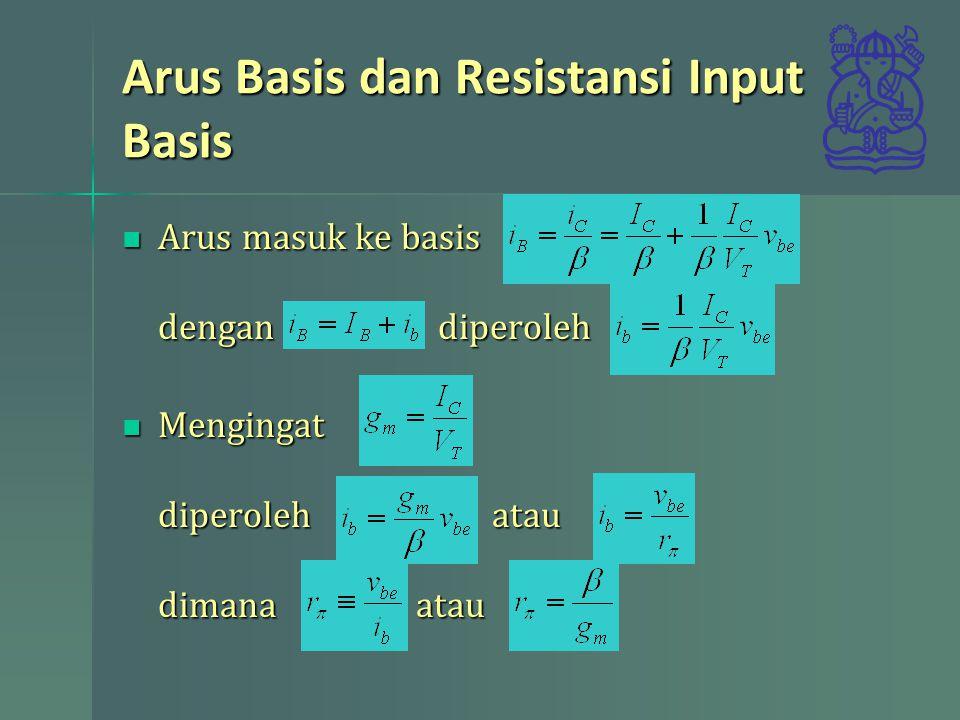 Arus Basis dan Resistansi Input Basis Arus masuk ke basis dengan diperoleh Arus masuk ke basis dengan diperoleh Mengingat diperoleh atau dimana atau Mengingat diperoleh atau dimana atau