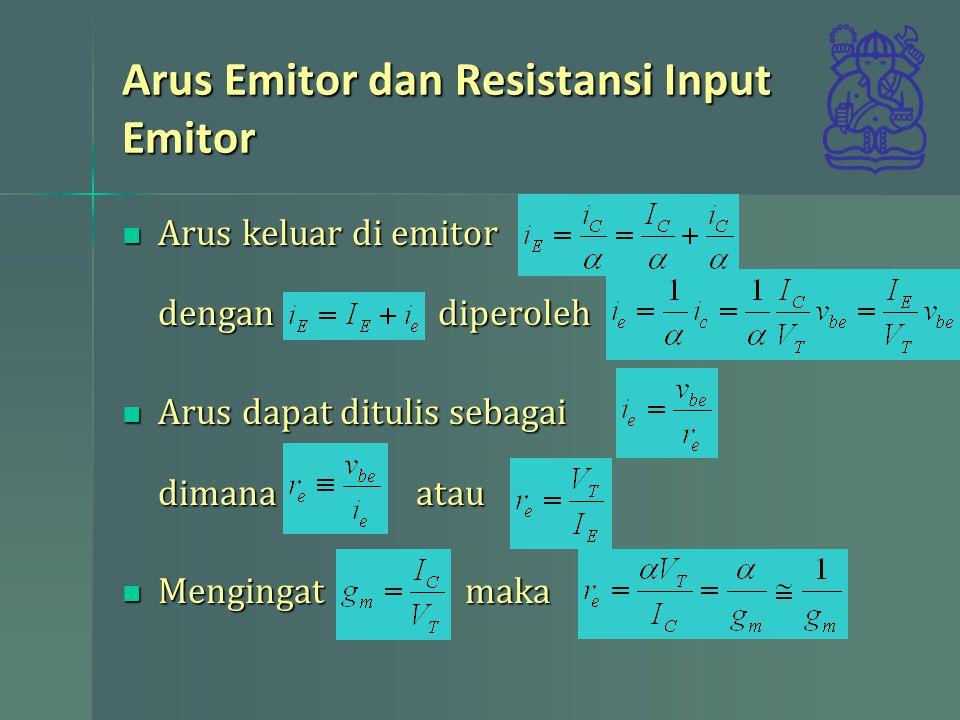Arus Emitor dan Resistansi Input Emitor Arus keluar di emitor dengan diperoleh Arus keluar di emitor dengan diperoleh Arus dapat ditulis sebagai dimana atau Arus dapat ditulis sebagai dimana atau Mengingat maka Mengingat maka