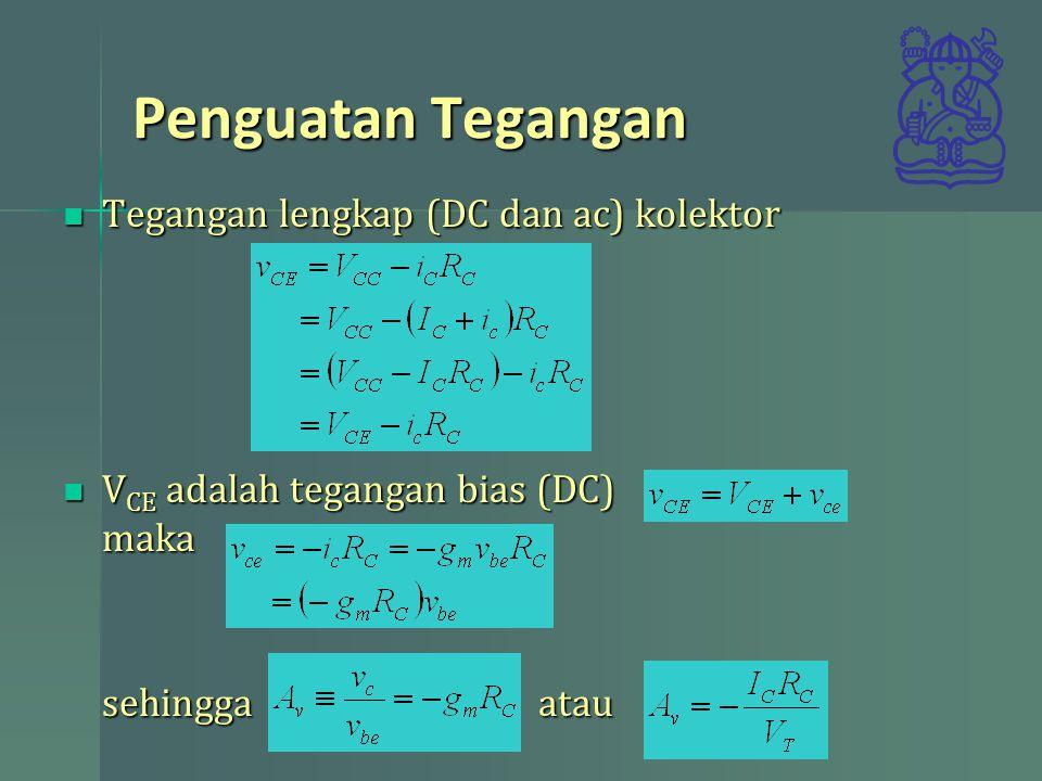 Penguatan Tegangan Tegangan lengkap (DC dan ac) kolektor Tegangan lengkap (DC dan ac) kolektor V CE adalah tegangan bias (DC) maka V CE adalah tegangan bias (DC) maka sehingga atau