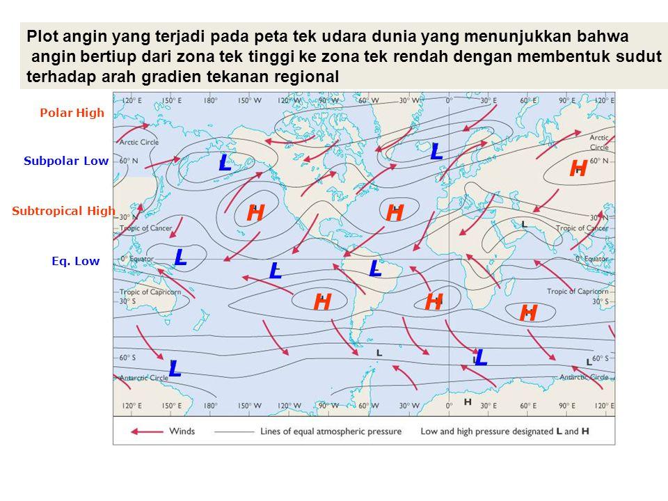 L L L L L L L H HH H H H Eq. Low Subtropical High Subpolar Low Polar High Plot angin yang terjadi pada peta tek udara dunia yang menunjukkan bahwa ang