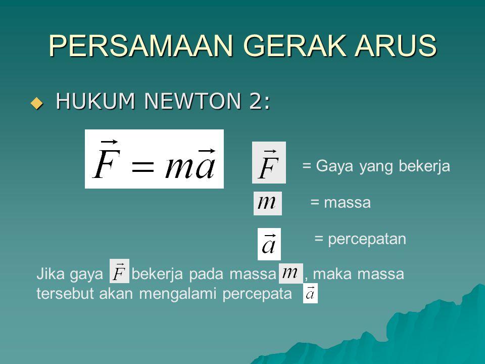 PERSAMAAN GERAK ARUS  HUKUM NEWTON 2: = Gaya yang bekerja = massa = percepatan Jika gaya bekerja pada massa, maka massa tersebut akan mengalami perce