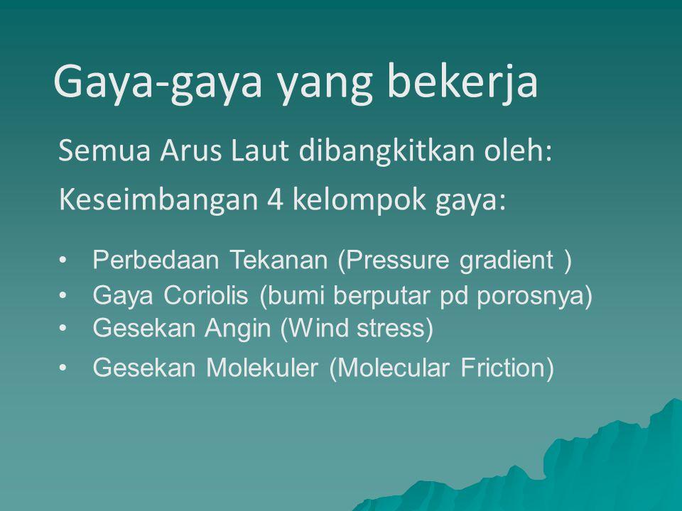 Gaya-gaya yang bekerja Semua Arus Laut dibangkitkan oleh: Keseimbangan 4 kelompok gaya: Perbedaan Tekanan (Pressure gradient ) Gaya Coriolis (bumi ber