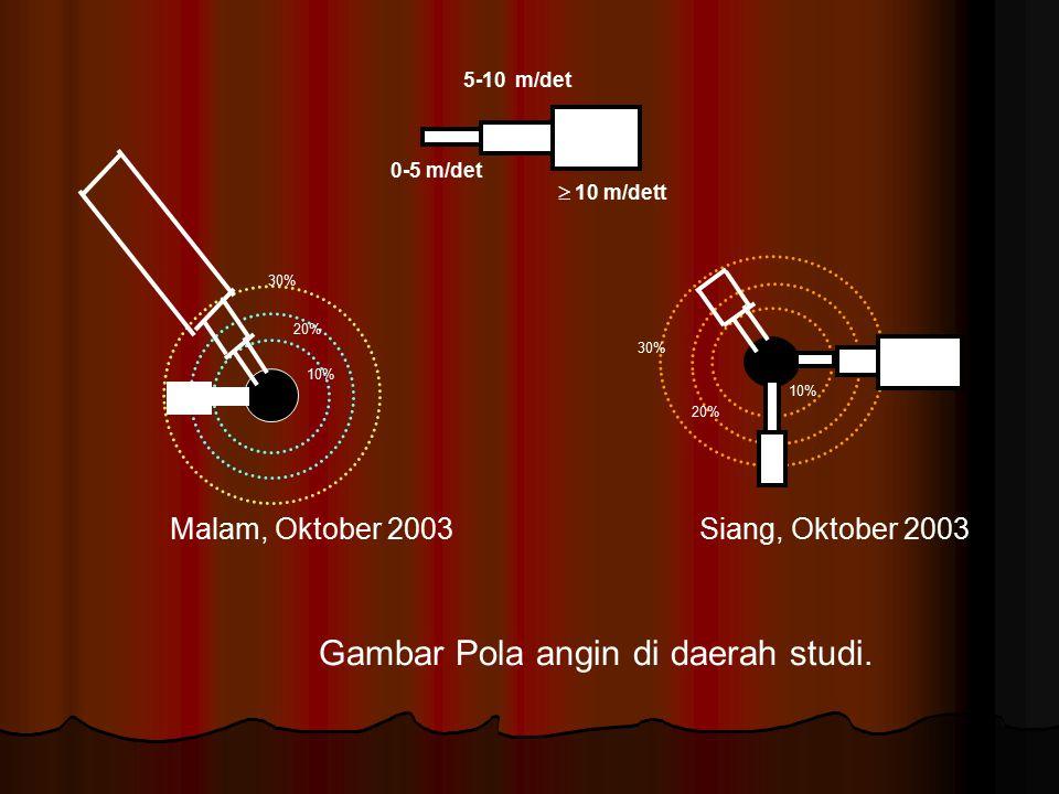 30% 20% 10% 30% 20% 10% 0-5 m/det 5-10 m/det  10 m/dett Malam, Oktober 2003 Siang, Oktober 2003 Gambar Pola angin di daerah studi.