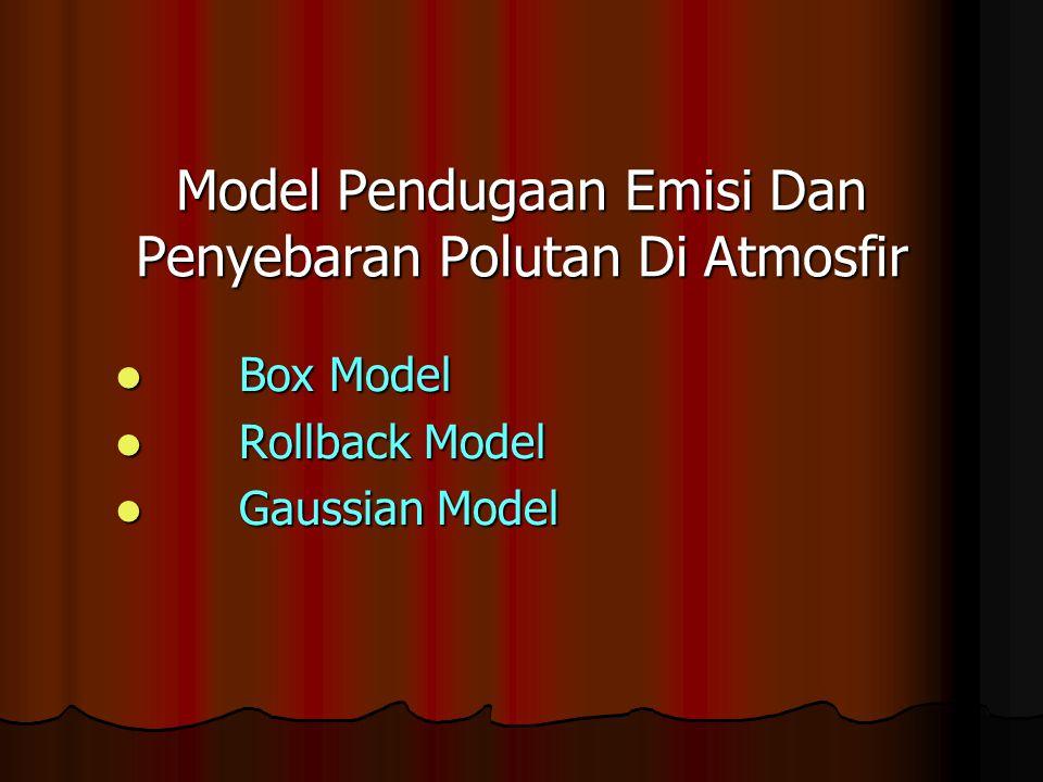 Model Pendugaan Emisi Dan Penyebaran Polutan Di Atmosfir Box Model Box Model Rollback Model Rollback Model Gaussian Model Gaussian Model