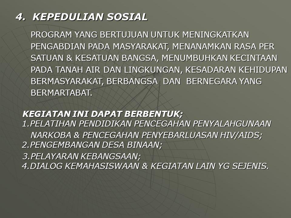 4. KEPEDULIAN SOSIAL 4. KEPEDULIAN SOSIAL PROGRAM YANG BERTUJUAN UNTUK MENINGKATKAN PROGRAM YANG BERTUJUAN UNTUK MENINGKATKAN PENGABDIAN PADA MASYARAK