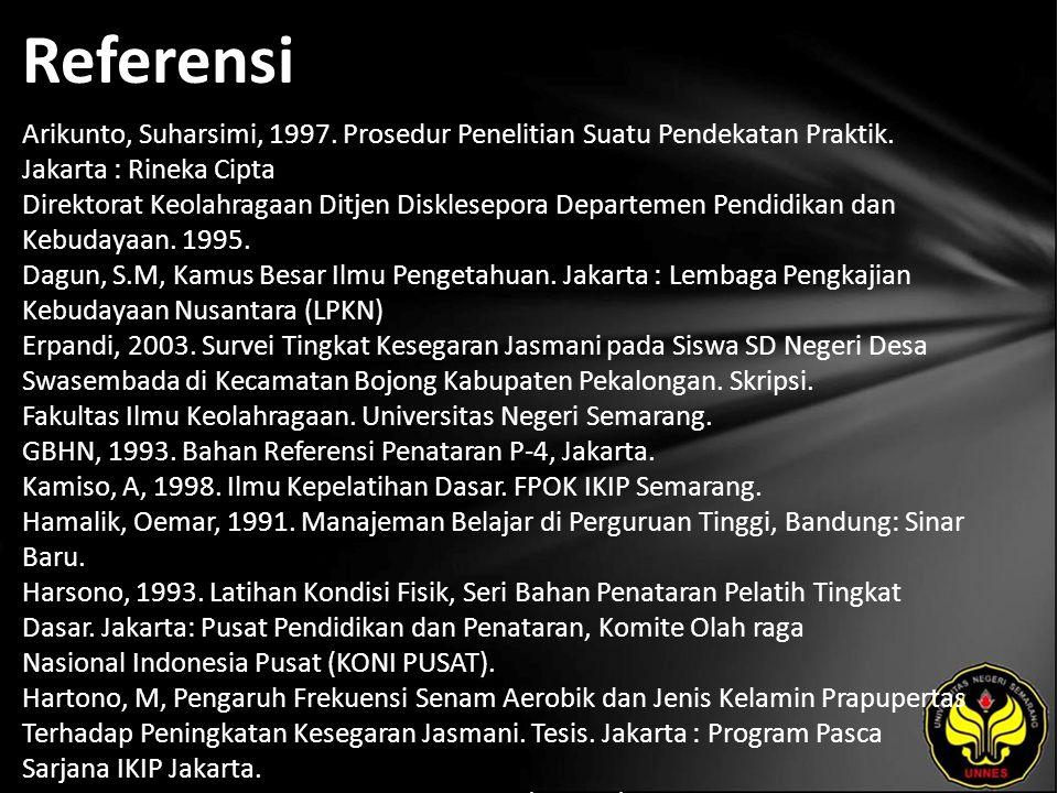 Referensi Arikunto, Suharsimi, 1997. Prosedur Penelitian Suatu Pendekatan Praktik.