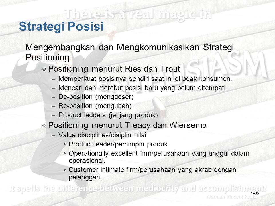 1–35 Strategi Posisi Mengembangkan dan Mengkomunikasikan Strategi Positioning  Positioning menurut Ries dan Trout –Memperkuat posisinya sendiri saat ini di beak konsumen.