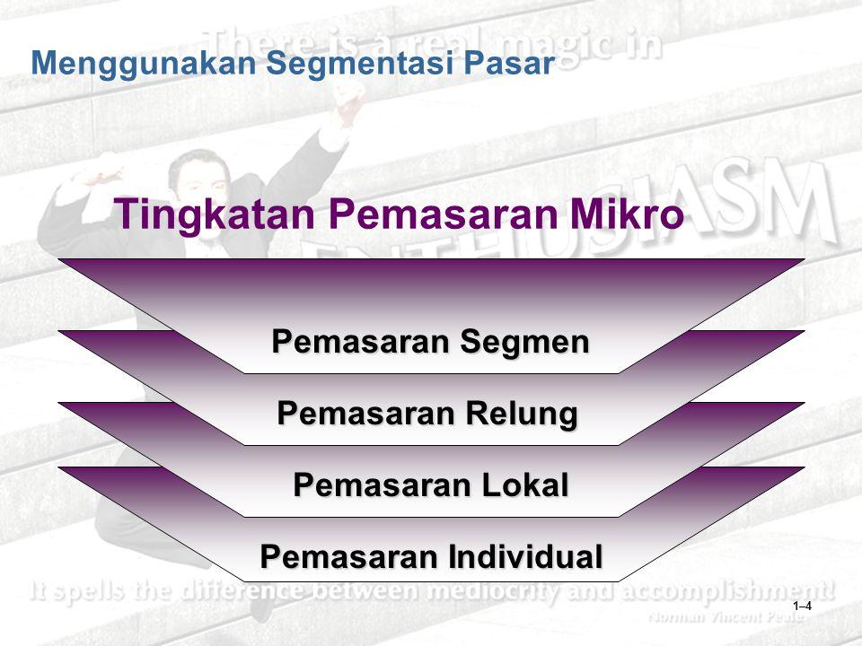1–4 Menggunakan Segmentasi Pasar Pemasaran Segmen Pemasaran Relung Pemasaran Lokal Pemasaran Individual Tingkatan Pemasaran Mikro