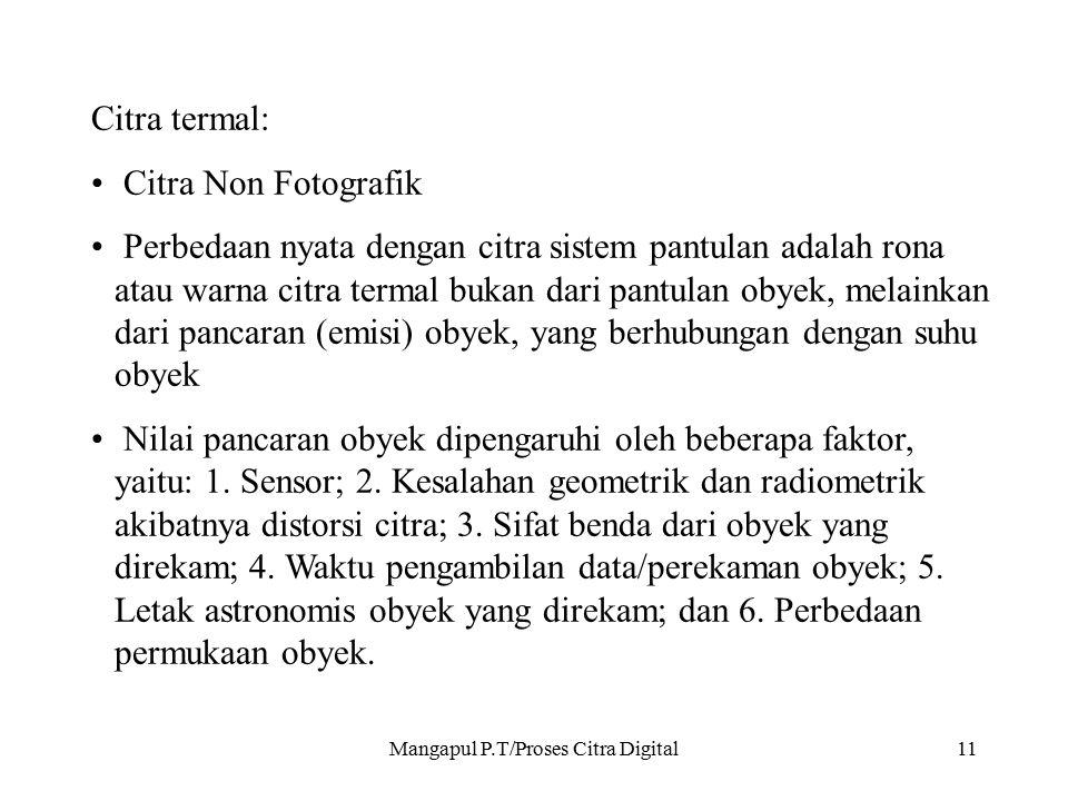 Mangapul P.T/Proses Citra Digital11 Citra termal: Citra Non Fotografik Perbedaan nyata dengan citra sistem pantulan adalah rona atau warna citra terma