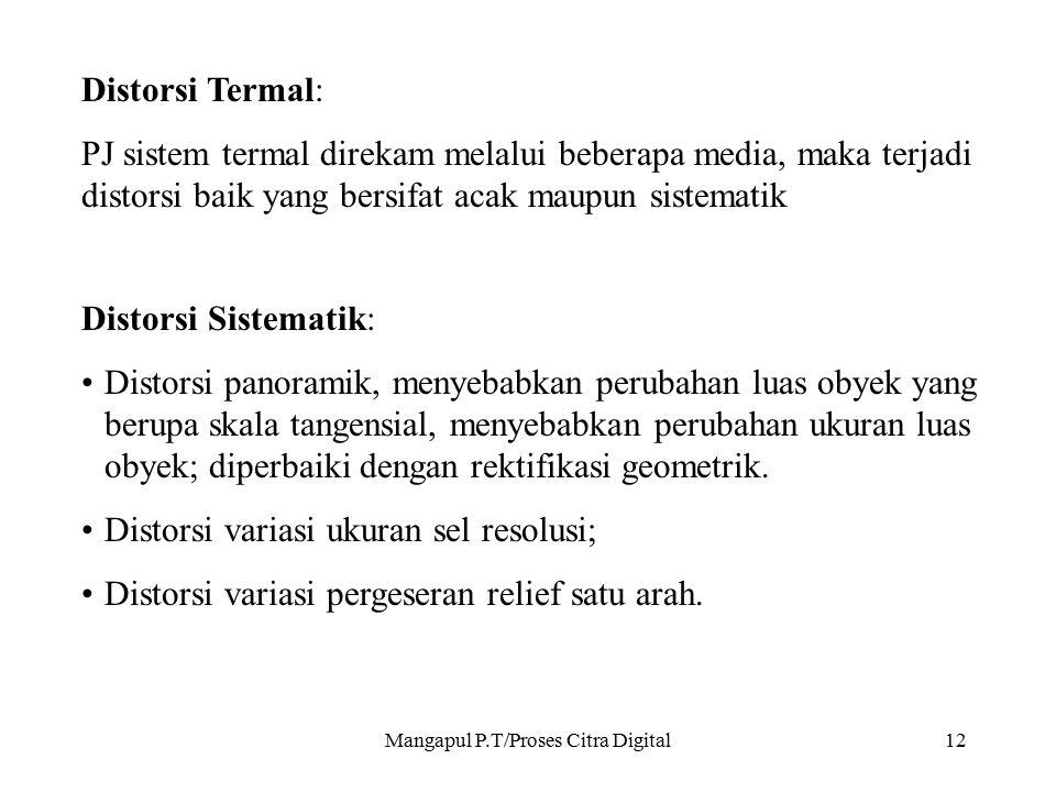 Mangapul P.T/Proses Citra Digital12 Distorsi Termal: PJ sistem termal direkam melalui beberapa media, maka terjadi distorsi baik yang bersifat acak ma