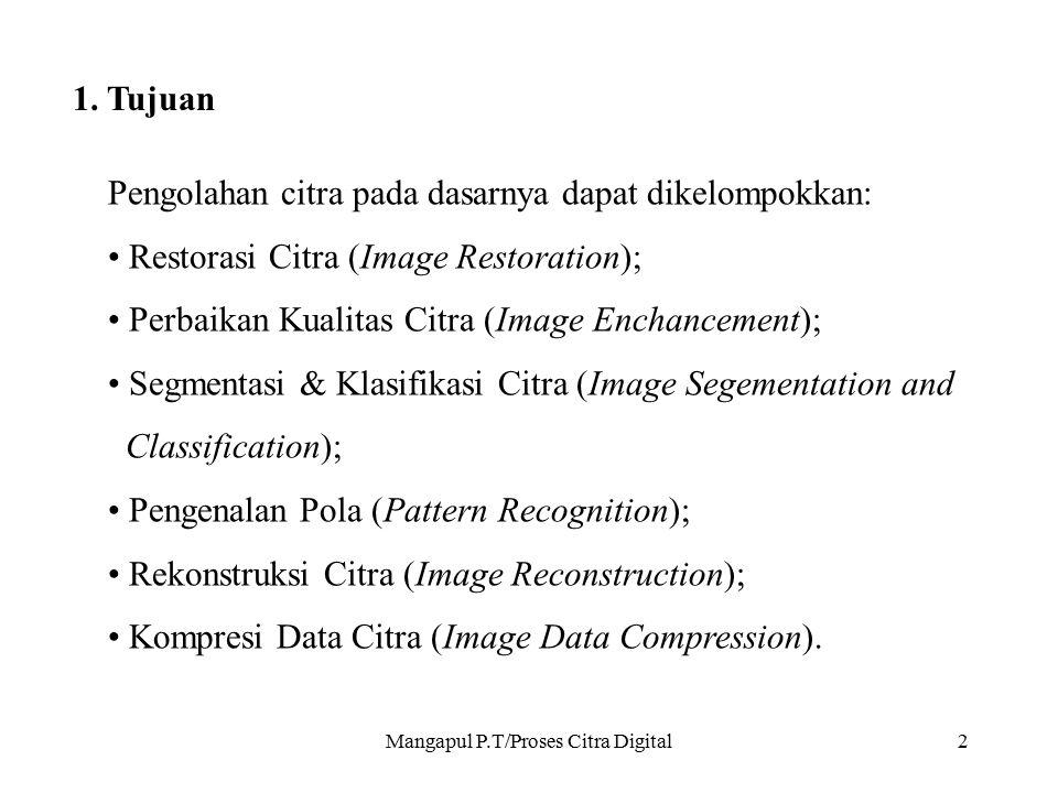 Mangapul P.T/Proses Citra Digital2 1. Tujuan Pengolahan citra pada dasarnya dapat dikelompokkan: Restorasi Citra (Image Restoration); Perbaikan Kualit