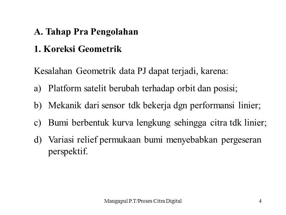 Mangapul P.T/Proses Citra Digital4 A. Tahap Pra Pengolahan 1. Koreksi Geometrik Kesalahan Geometrik data PJ dapat terjadi, karena: a)Platform satelit