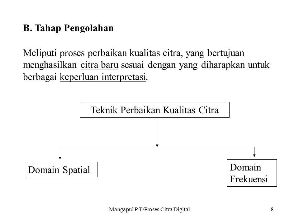 Mangapul P.T/Proses Citra Digital9 Domain spatial, meliputi:  Modifikasi histogram;  Konvolusi atau rationing dari data multiband ;  Manipulasi numerik.