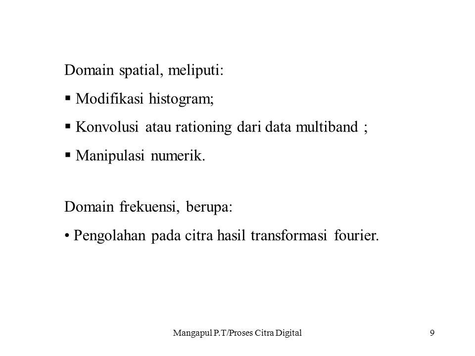 Mangapul P.T/Proses Citra Digital9 Domain spatial, meliputi:  Modifikasi histogram;  Konvolusi atau rationing dari data multiband ;  Manipulasi num
