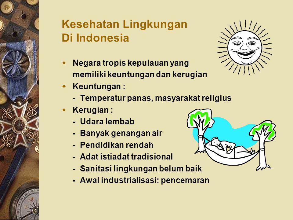 Kesehatan Lingkungan Di Indonesia  Negara tropis kepulauan yang memiliki keuntungan dan kerugian  Keuntungan : - Temperatur panas, masyarakat religi