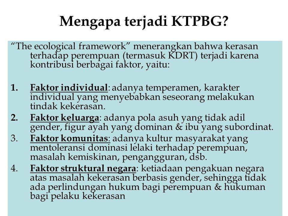 """Mengapa terjadi KTPBG? """"The ecological framework"""" menerangkan bahwa kerasan terhadap perempuan (termasuk KDRT) terjadi karena kontribusi berbagai fakt"""
