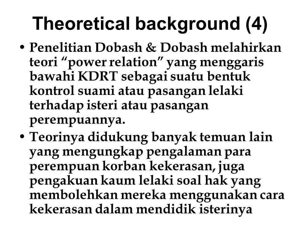 """Theoretical background (4) Penelitian Dobash & Dobash melahirkan teori """"power relation"""" yang menggaris bawahi KDRT sebagai suatu bentuk kontrol suami"""