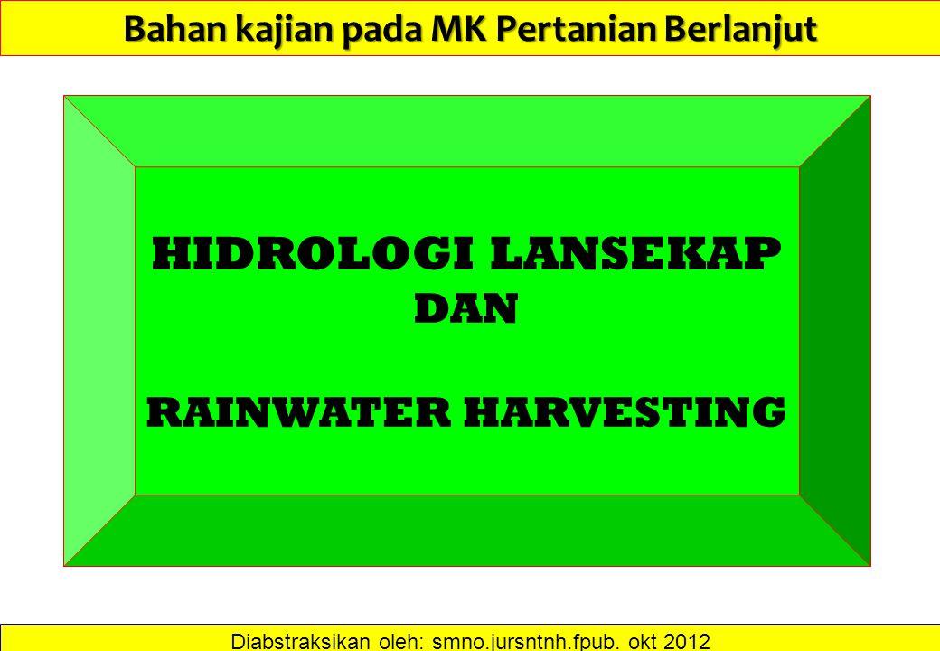 Bahan kajian pada MK Pertanian Berlanjut Diabstraksikan oleh: smno.jursntnh.fpub. okt 2012 HIDROLOGI LANSEKAP DAN RAINWATER HARVESTING