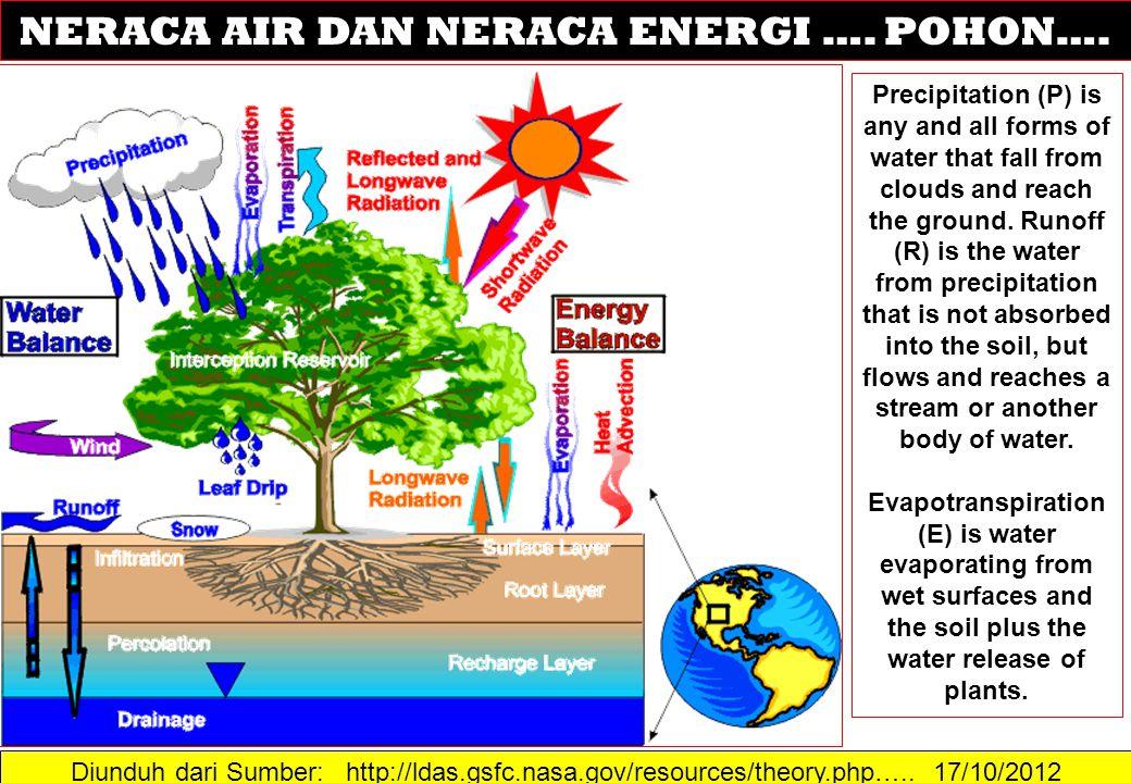 Diunduh dari Sumber: http://ldas.gsfc.nasa.gov/resources/theory.php….. 17/10/2012 NERACA AIR DAN NERACA ENERGI …. POHON…. Precipitation (P) is any and
