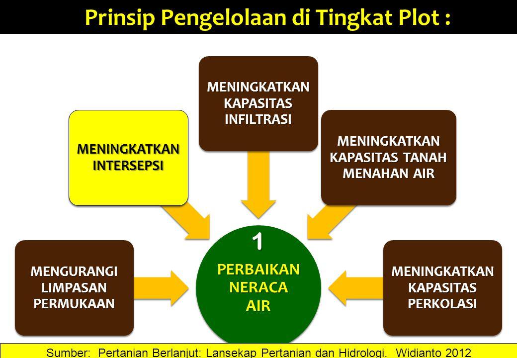 Prinsip Pengelolaan di Tingkat Plot : 1 Sumber: Pertanian Berlanjut: Lansekap Pertanian dan Hidrologi. Widianto 2012