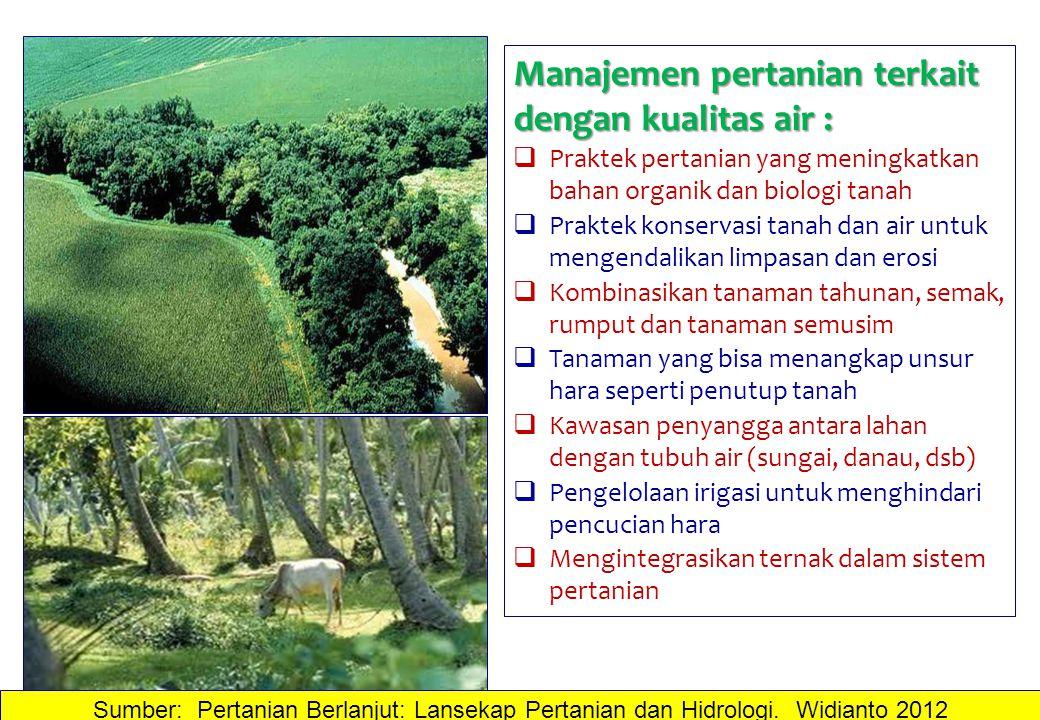 Manajemen pertanian terkait dengan kualitas air :  Praktek pertanian yang meningkatkan bahan organik dan biologi tanah  Praktek konservasi tanah dan