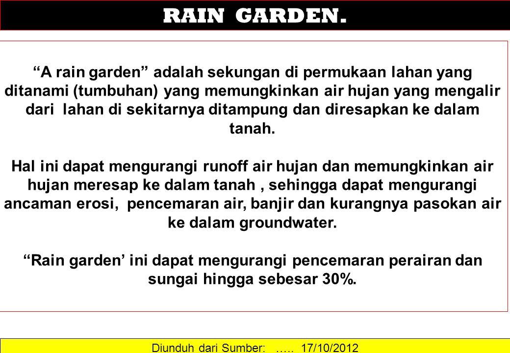 "Diunduh dari Sumber: ….. 17/10/2012 RAIN GARDEN. ""A rain garden"" adalah sekungan di permukaan lahan yang ditanami (tumbuhan) yang memungkinkan air huj"