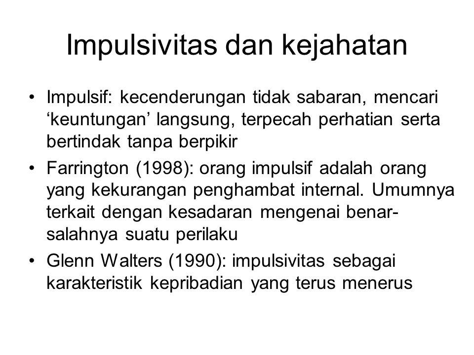 Impulsivitas dan kejahatan Impulsif: kecenderungan tidak sabaran, mencari 'keuntungan' langsung, terpecah perhatian serta bertindak tanpa berpikir Far