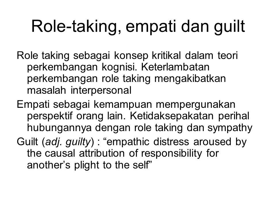 Role-taking, empati dan guilt Role taking sebagai konsep kritikal dalam teori perkembangan kognisi. Keterlambatan perkembangan role taking mengakibatk