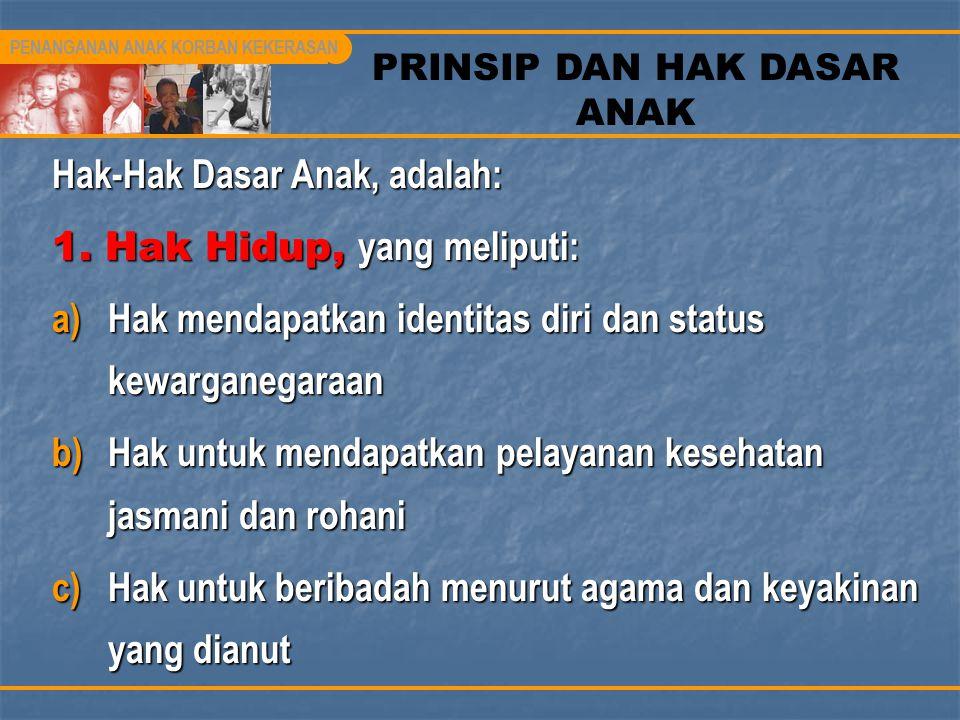 PRINSIP DAN HAK DASAR ANAK Hak-Hak Dasar Anak, adalah: 1. Hak Hidup, yang meliputi: a)Hak mendapatkan identitas diri dan status kewarganegaraan b)Hak