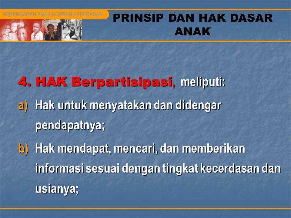 PRINSIP DAN HAK DASAR ANAK 4. HAK Berpartisipasi, meliputi: a)Hak untuk menyatakan dan didengar pendapatnya; b)Hak mendapat, mencari, dan memberikan i