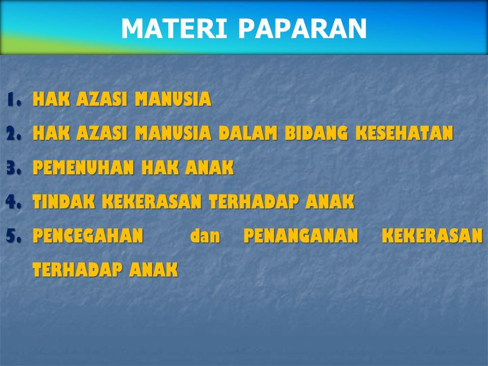1.HAK AZASI MANUSIA 2.HAK AZASI MANUSIA DALAM BIDANG KESEHATAN 3.PEMENUHAN HAK ANAK 4.TINDAK KEKERASAN TERHADAP ANAK 5.PENCEGAHAN dan PENANGANAN KEKER