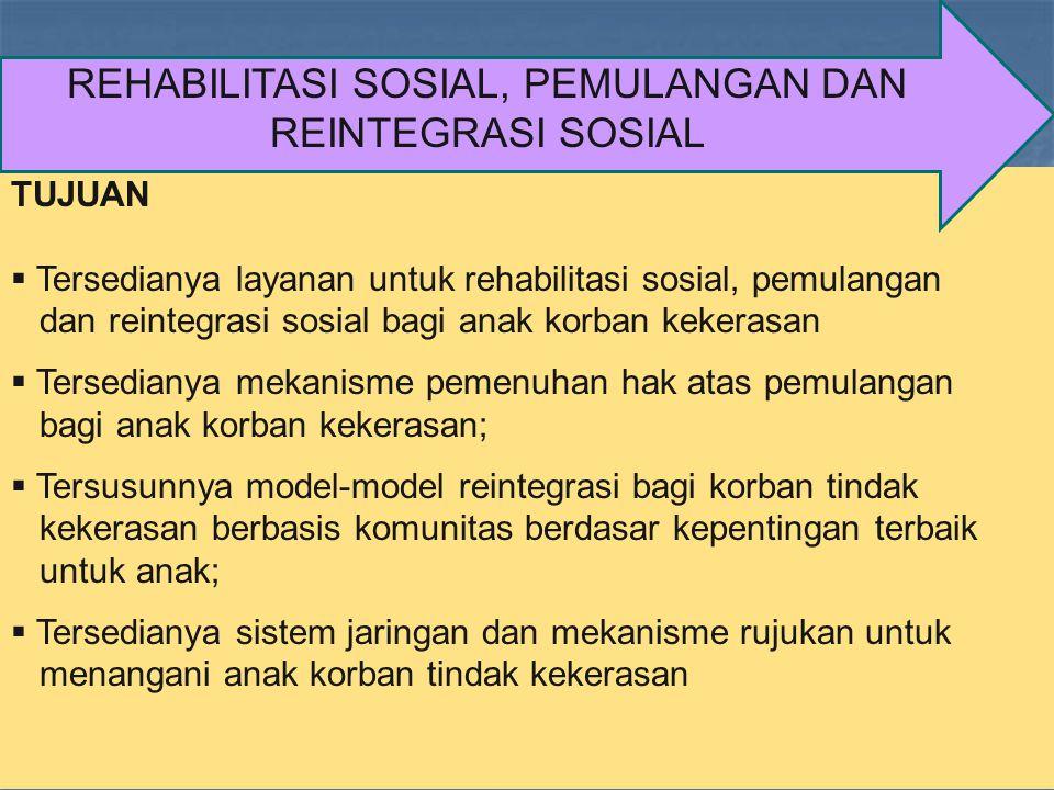 TUJUAN  Tersedianya layanan untuk rehabilitasi sosial, pemulangan dan reintegrasi sosial bagi anak korban kekerasan  Tersedianya mekanisme pemenuhan