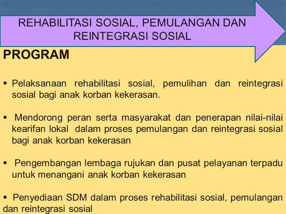 PROGRAM  Pelaksanaan rehabilitasi sosial, pemulihan dan reintegrasi sosial bagi anak korban kekerasan.  Mendorong peran serta masyarakat dan penerap