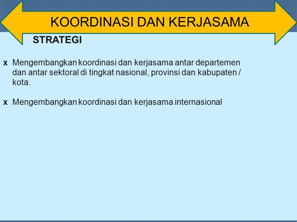 STRATEGI x Mengembangkan koordinasi dan kerjasama antar departemen dan antar sektoral di tingkat nasional, provinsi dan kabupaten / kota. x Mengembang