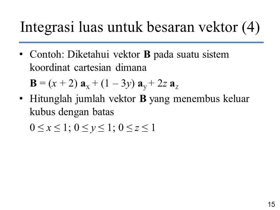 15 Dr. Ir. Chairunnisa Integrasi luas untuk besaran vektor (4) Contoh: Diketahui vektor B pada suatu sistem koordinat cartesian dimana B = (x + 2) a x