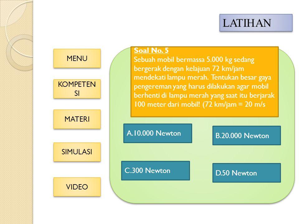 MENU KOMPETEN SI KOMPETEN SI MATERI SIMULASI VIDEO LATIHAN A.10.000 Newton C.300 Newton D.50 Newton B.20.000 Newton Soal No.