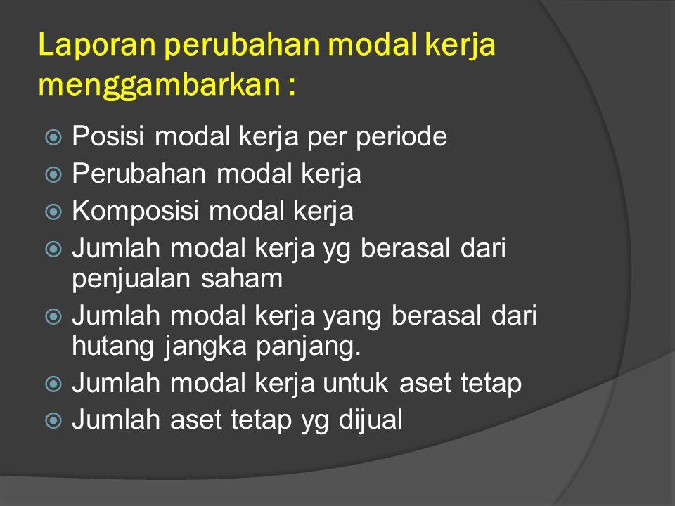 Laporan perubahan modal kerja menggambarkan :  Posisi modal kerja per periode  Perubahan modal kerja  Komposisi modal kerja  Jumlah modal kerja yg