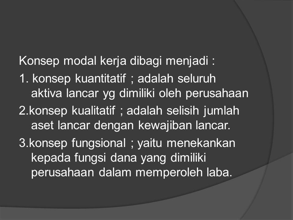 Konsep modal kerja dibagi menjadi : 1. konsep kuantitatif ; adalah seluruh aktiva lancar yg dimiliki oleh perusahaan 2.konsep kualitatif ; adalah seli