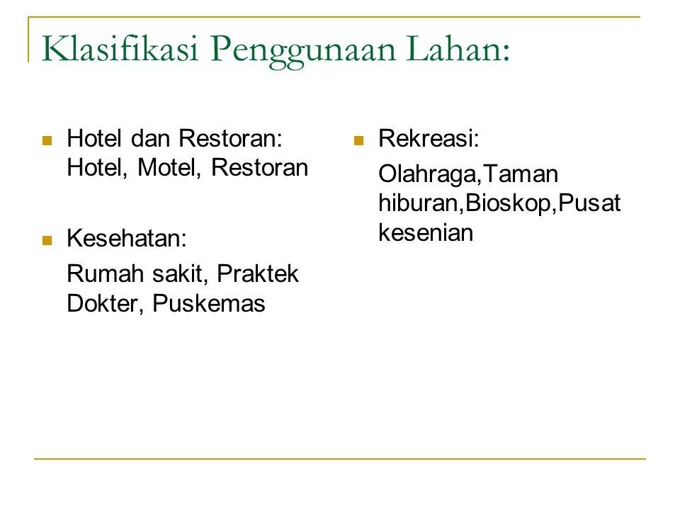 Klasifikasi Penggunaan Lahan: Hotel dan Restoran: Hotel, Motel, Restoran Kesehatan: Rumah sakit, Praktek Dokter, Puskemas Rekreasi: Olahraga,Taman hiburan,Bioskop,Pusat kesenian