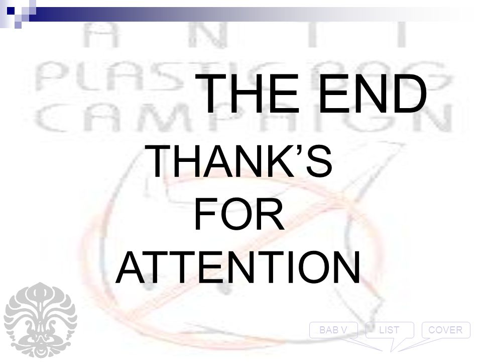 THE END THANK'S FOR ATTENTION COVERLISTBAB V