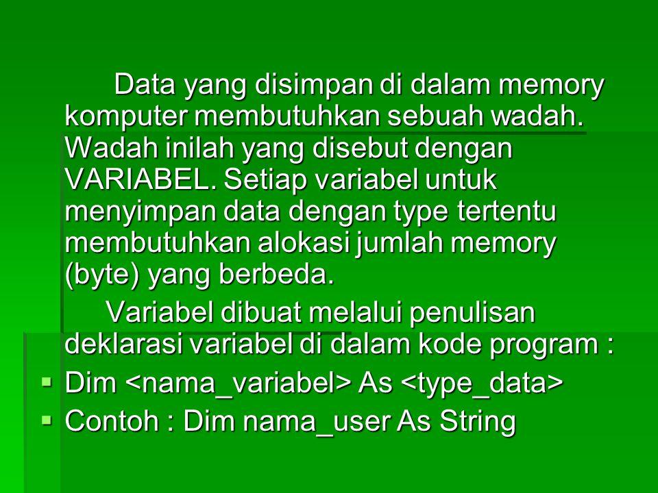 Data yang disimpan di dalam memory komputer membutuhkan sebuah wadah. Wadah inilah yang disebut dengan VARIABEL. Setiap variabel untuk menyimpan data