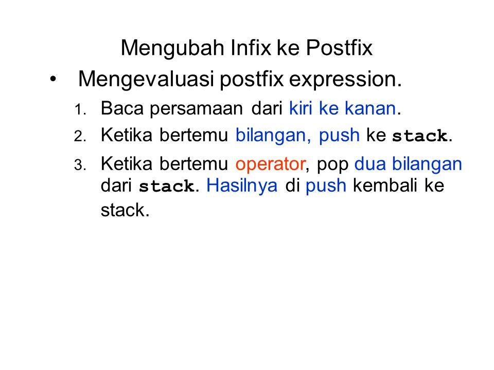 Mengubah Infix ke Postfix Mengevaluasi postfix expression. 1. Baca persamaan dari kiri ke kanan. 2. Ketika bertemu bilangan, push ke stack. 3. Ketika