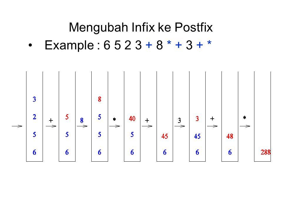 Mengubah Infix ke Postfix Example : 6 5 2 3 + 8 * + 3 + *
