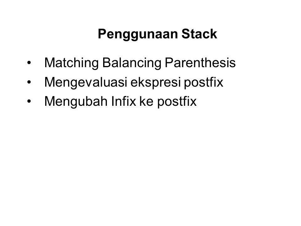 Matching Balancing Parenthesis Mengevaluasi ekspresi postfix Mengubah Infix ke postfix