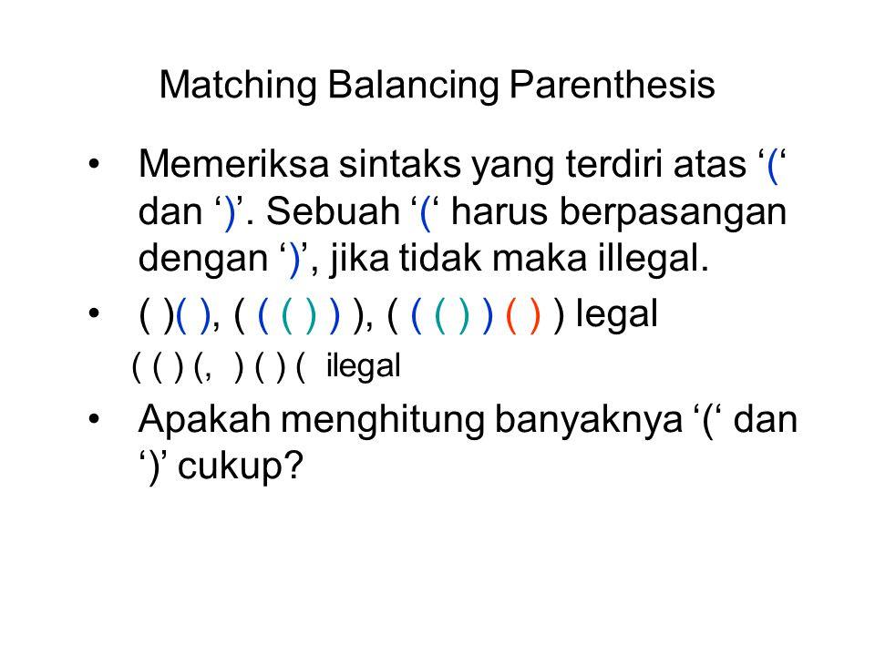 Matching Balancing Parenthesis Memeriksa sintaks yang terdiri atas '(' dan ')'. Sebuah '(' harus berpasangan dengan ')', jika tidak maka illegal. ( )(